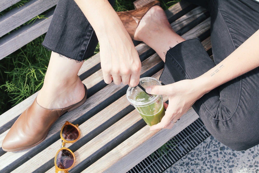Green juice and Madewell  jeans ,  mules  and  shades