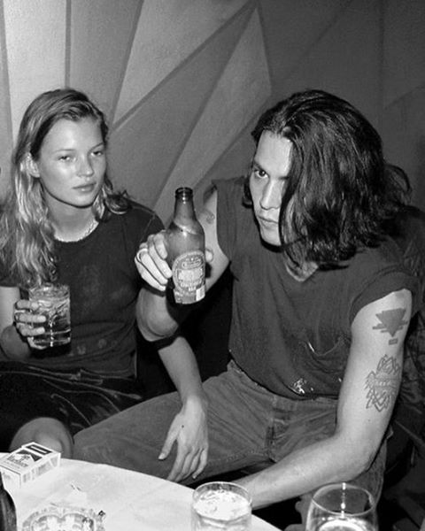 saturday, the johnny and kate way. #katemoss #johnnydepp