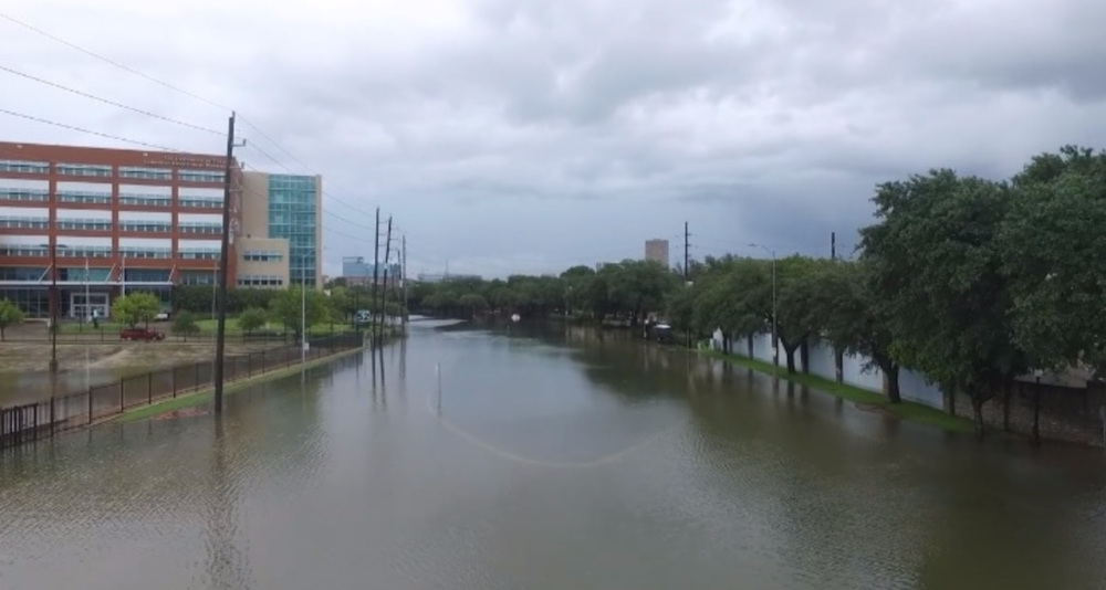Visualization of the flooding around UTSD during Harvey. Image courtesy of drone footage from Paul Smith, DS3.