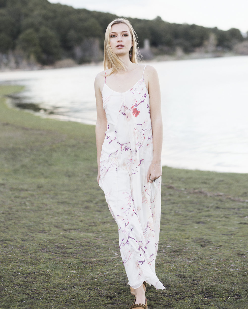 Long floral print dress- Kling Brown suede espadrilles- Aedo Pendientes- Sandra Palomar Rings- Roberto Navazo