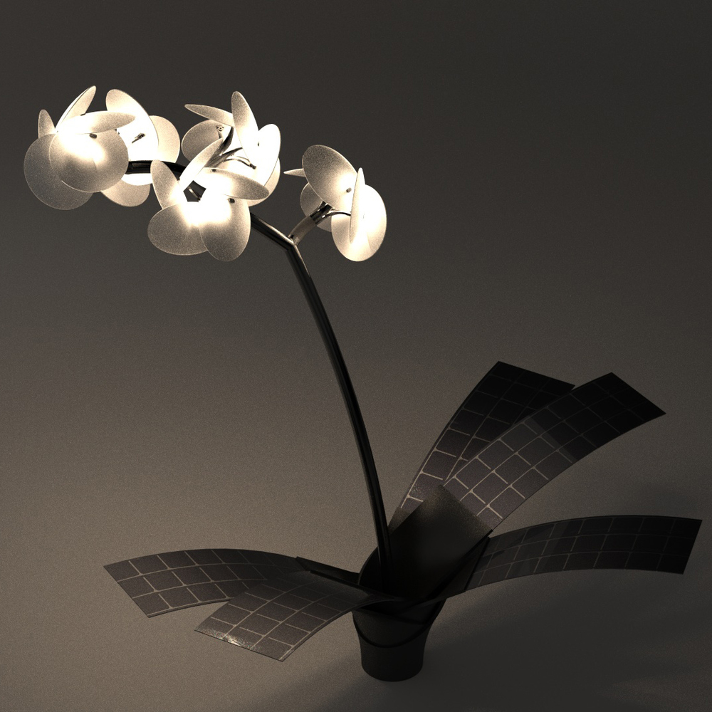 Orkys capture l'énergie solaire pour éclairer ses fleurs