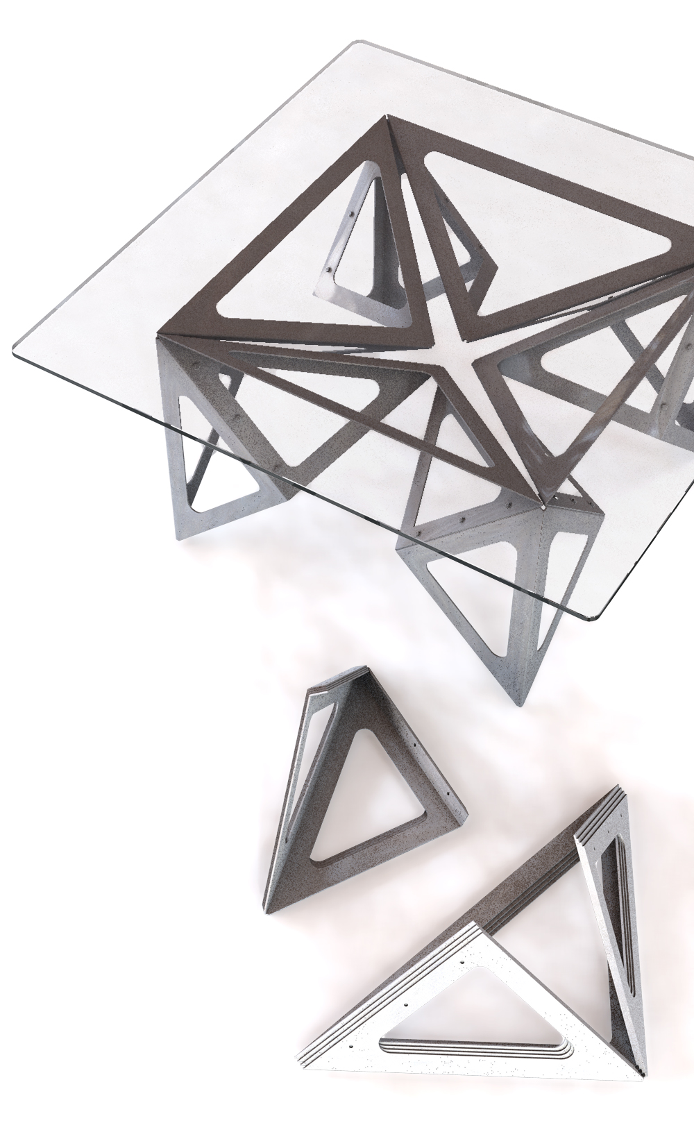 Coin-coin table inspired by origami