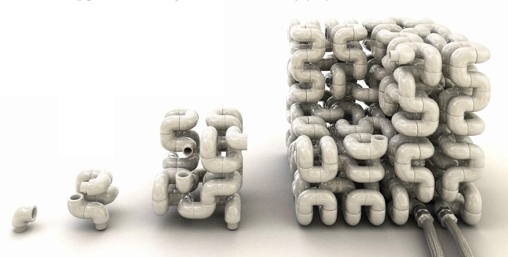 Octocube par Vivien Muller se compose de 512 coudes de plomberies
