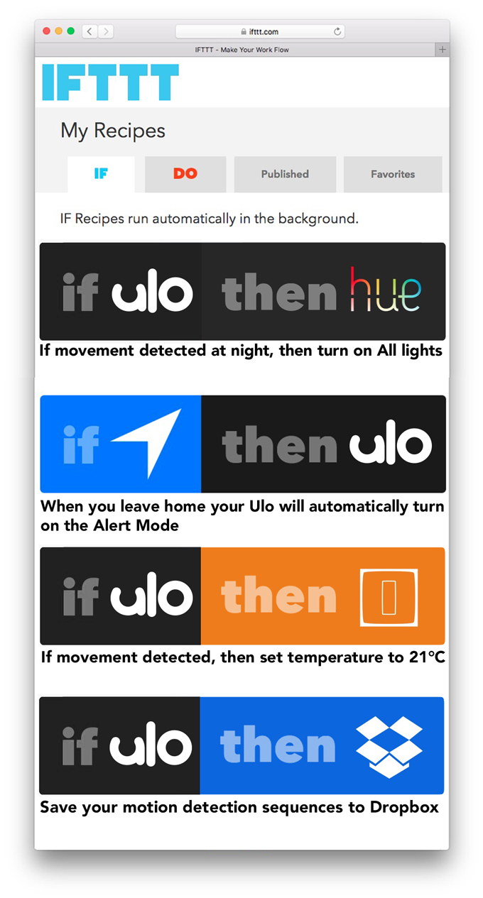 Ulo - Compatibilité IFTTT en objectif