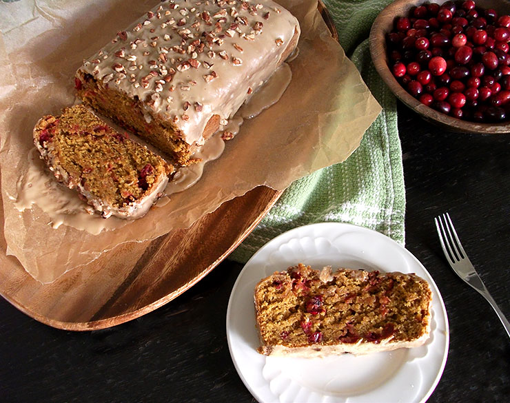 Maple Iced Pumpkin Cranberry Loaf