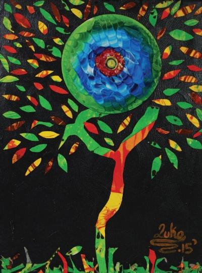 "artist:  luke lashley  Title: Tree of life Year: 2015 Medium: mixed media on canvas Size: 10"" x 13.5"" courtesy the artist price: tt$ 1,440.00"