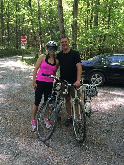 A shot of me and Thomas (the rocking Blackberry Farm team member who helped me make it to the top of the mountain) after the ride.