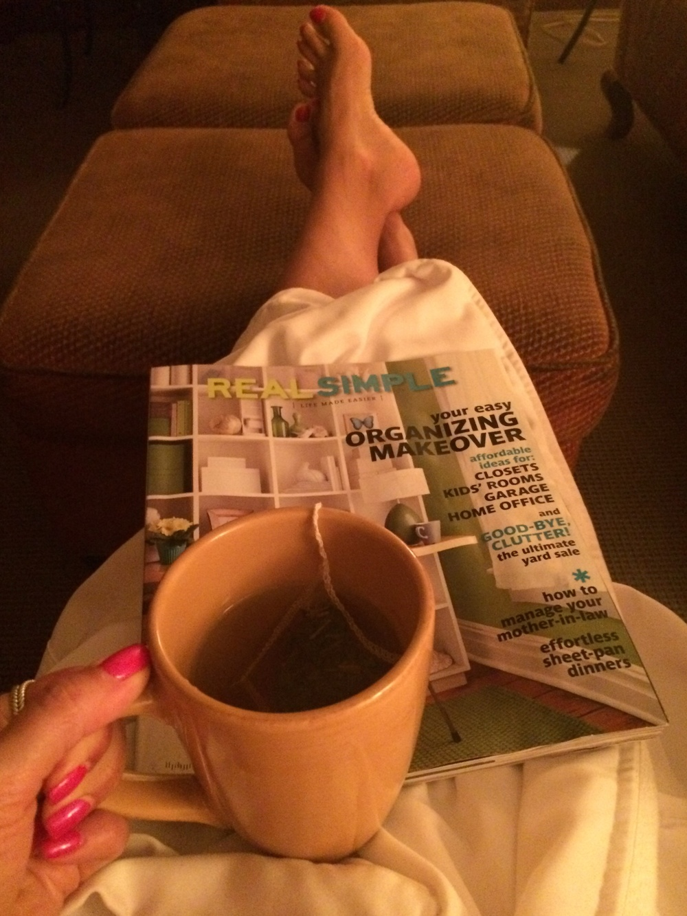 Relaxing before my Healing Hiker Massage.