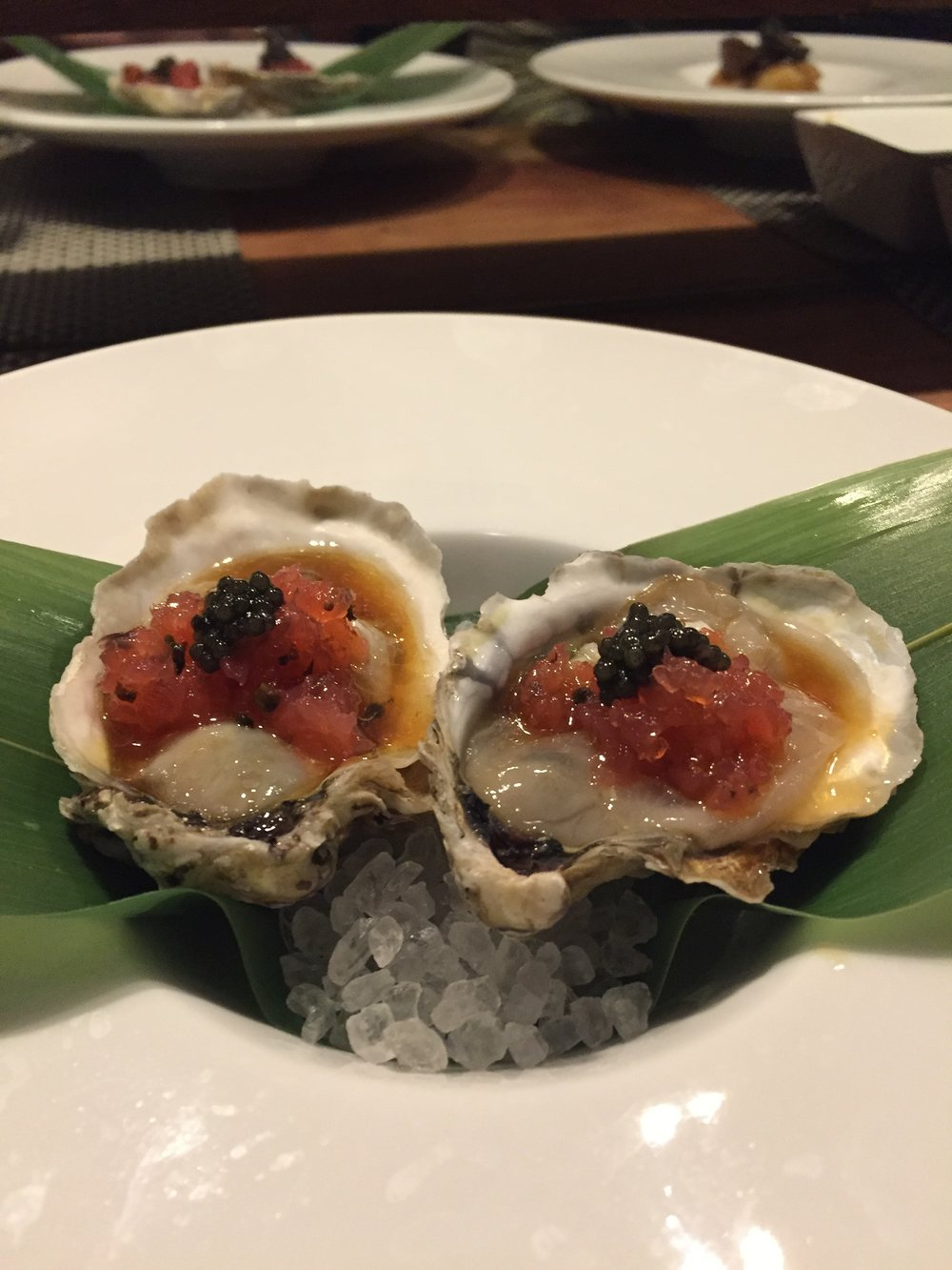 The half shell oysters.
