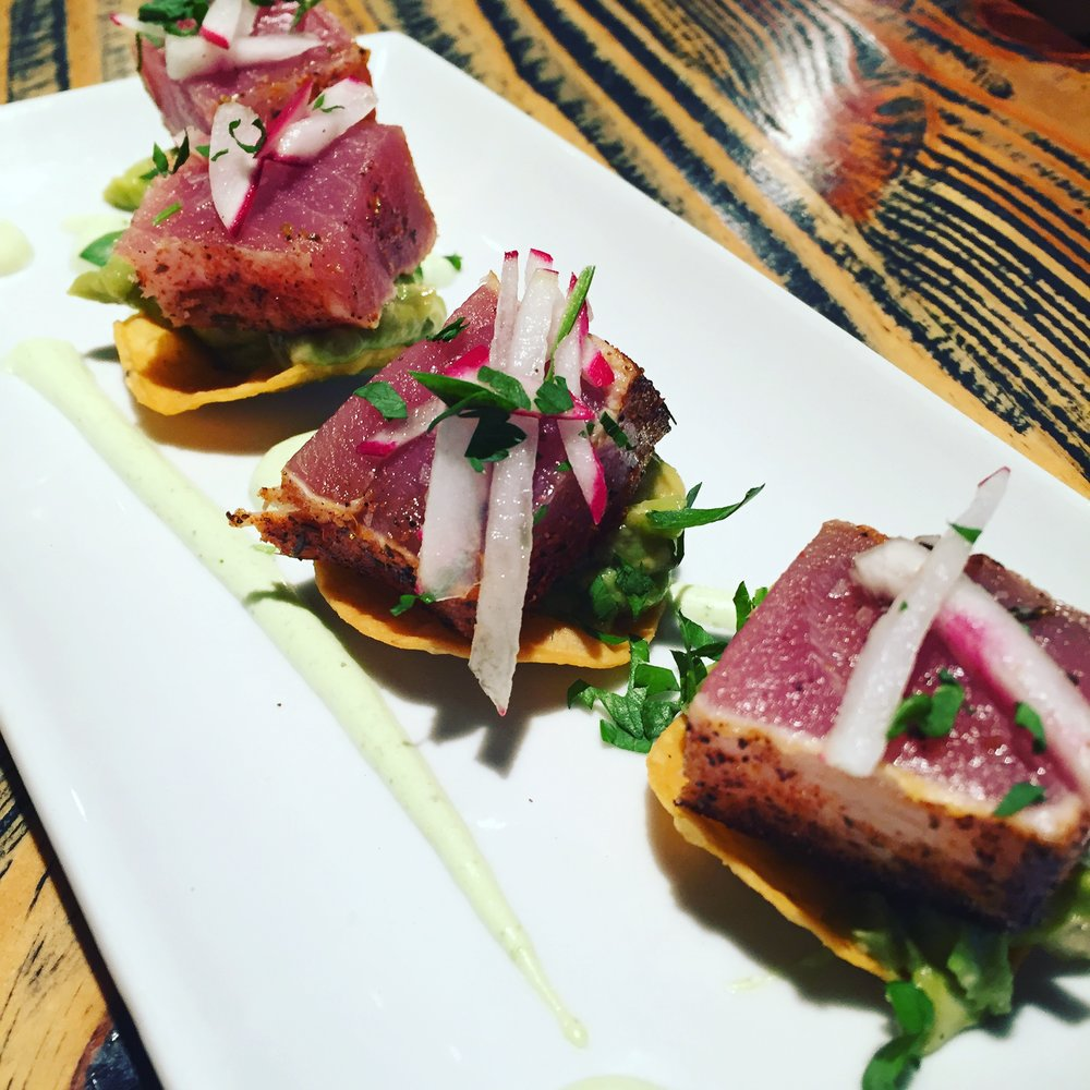 The Ahi tuna tostadas.