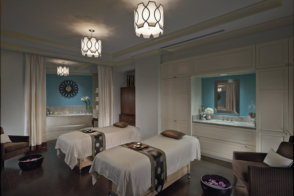 The spa suite where the treatment takes place. (The soaking tub is in the back left of the photo.)