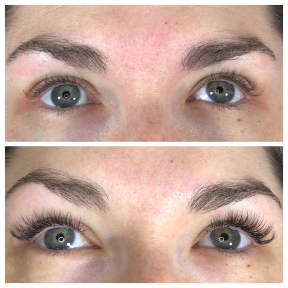 Lashes before (above) and after. (FYI, Lane also gave my brows a little tweezing love.)