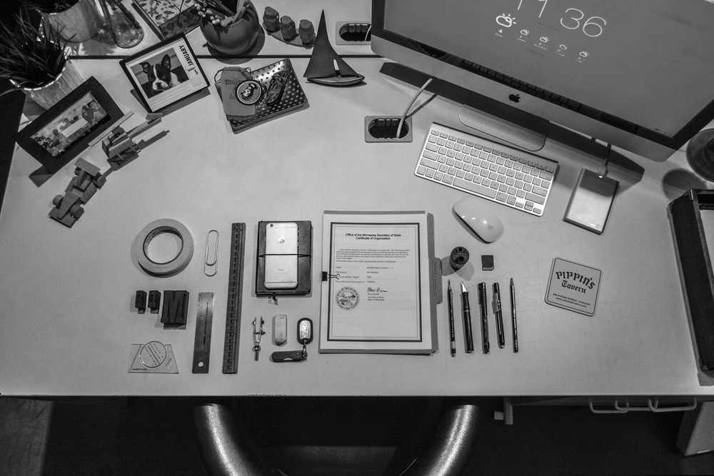 My workspace, filled with some of my favorite tools and trinkets.
