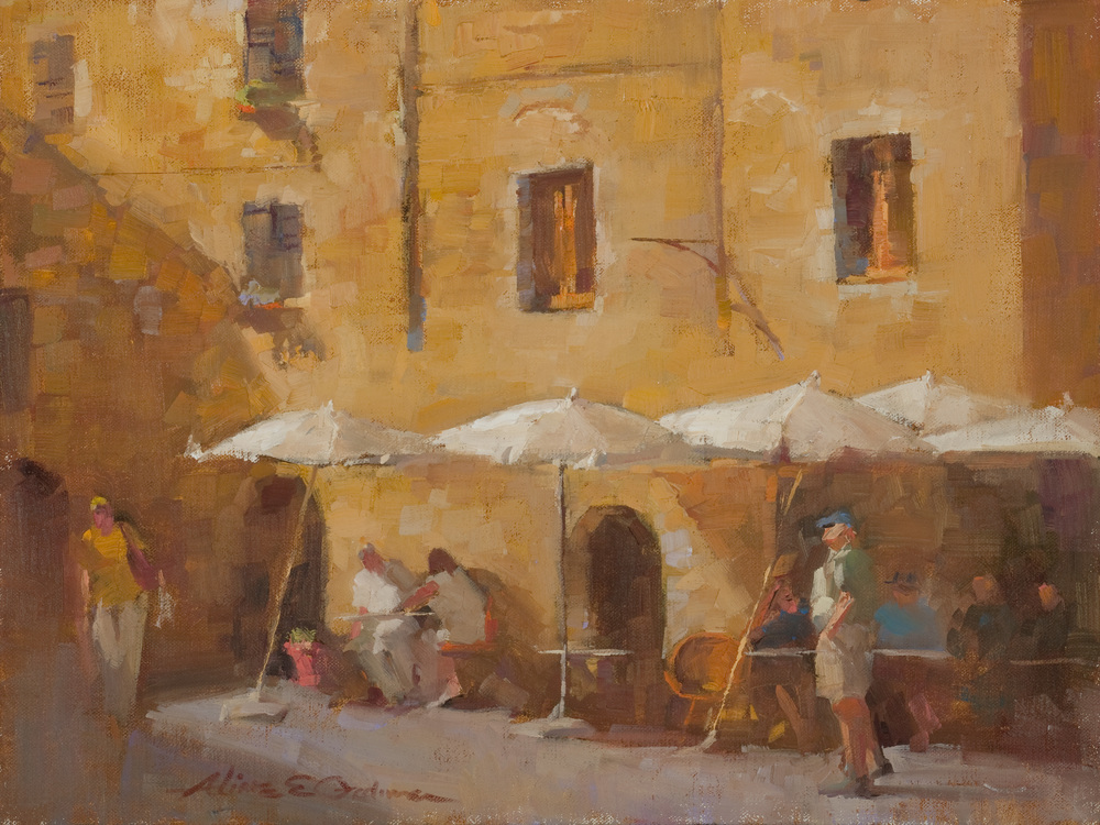 "Cafe San Gimignano oil 16"" x 12"" SOLD"