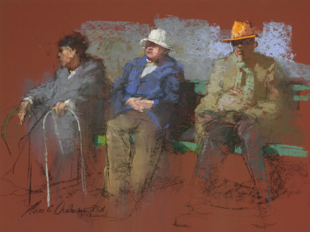 "Three on a Bench  pastel  9"" x 12"""