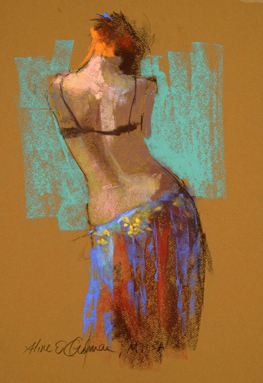 "Belly Dancer  pastel   12"" x 9"""