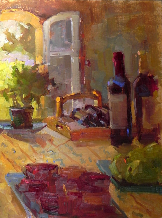"Chateau Still Life oil 16"" x 12"""
