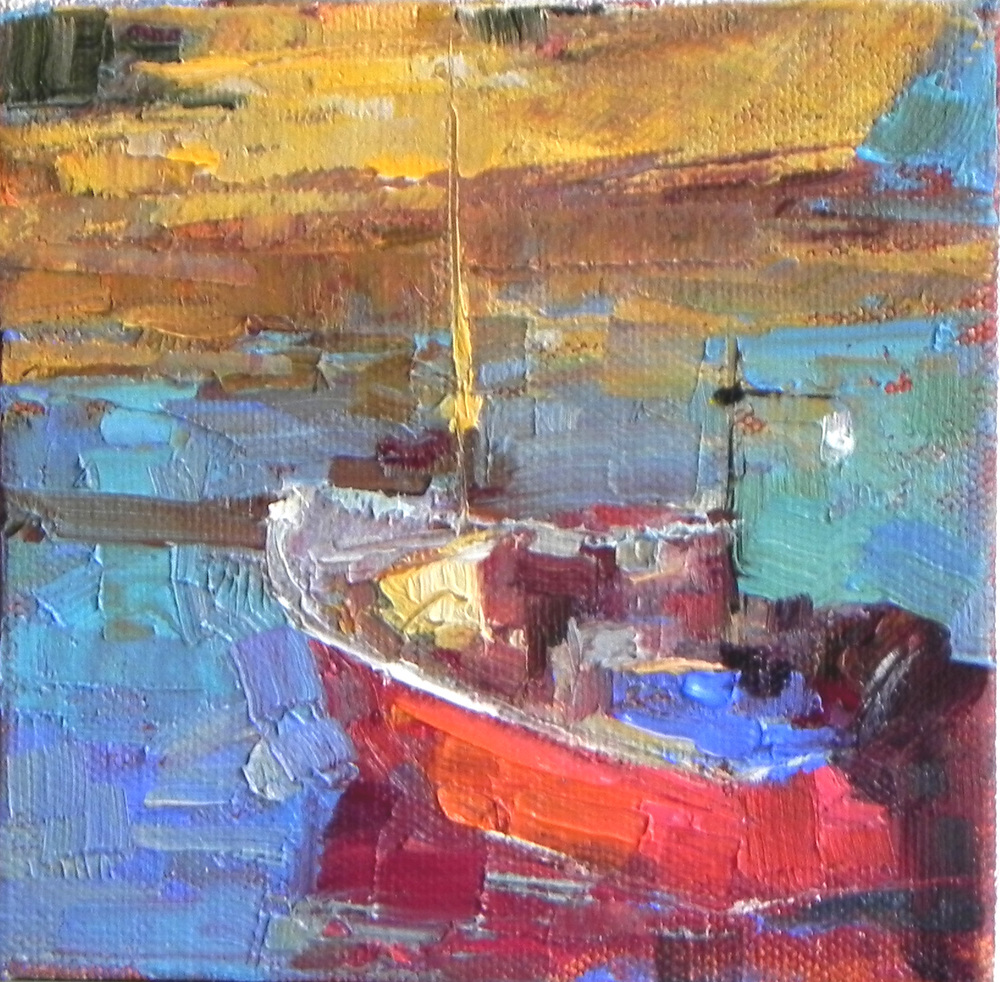 "Red Boat 6"" x 6"""