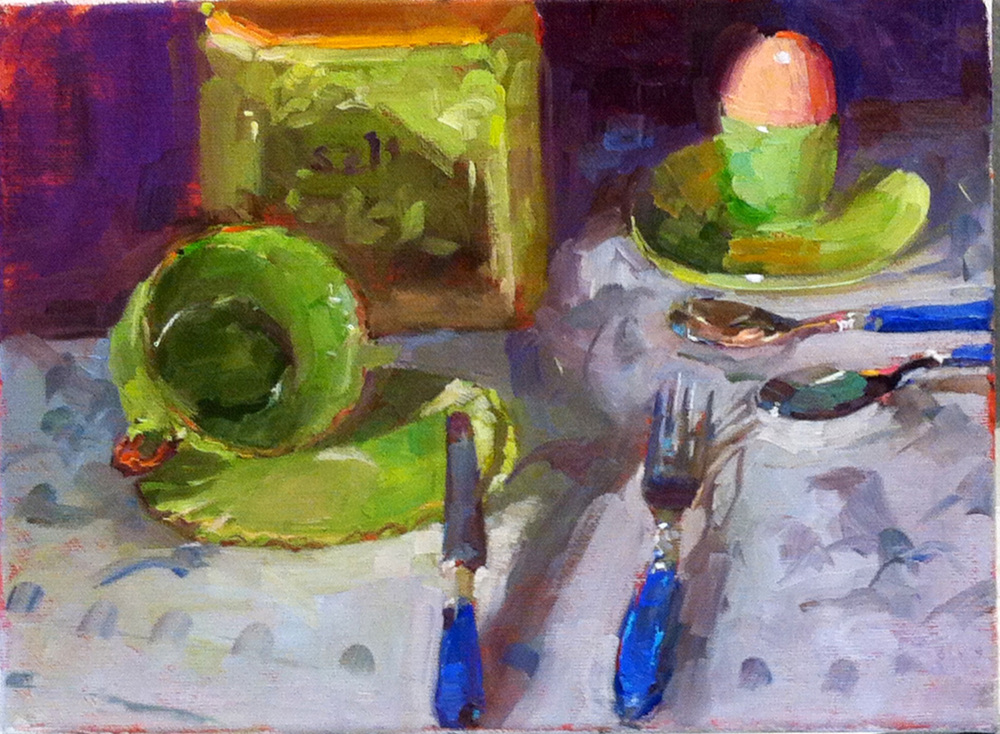 Still life in green  9 x 12 o/c
