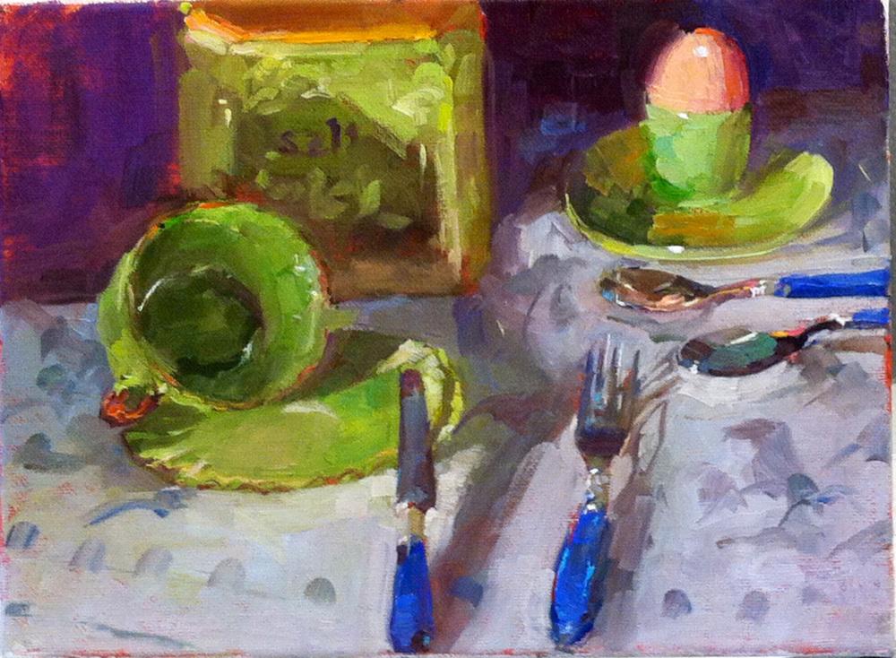 Still life in green  9 x 12 o/c