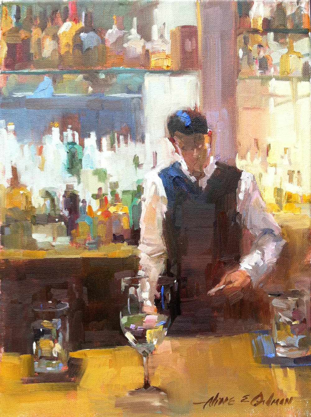 Boston Bartender 12 x 16 oil on canvas