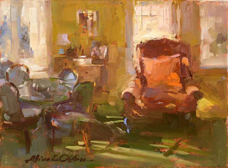 Lillian's Living Room  9 x 12 oil on canvas