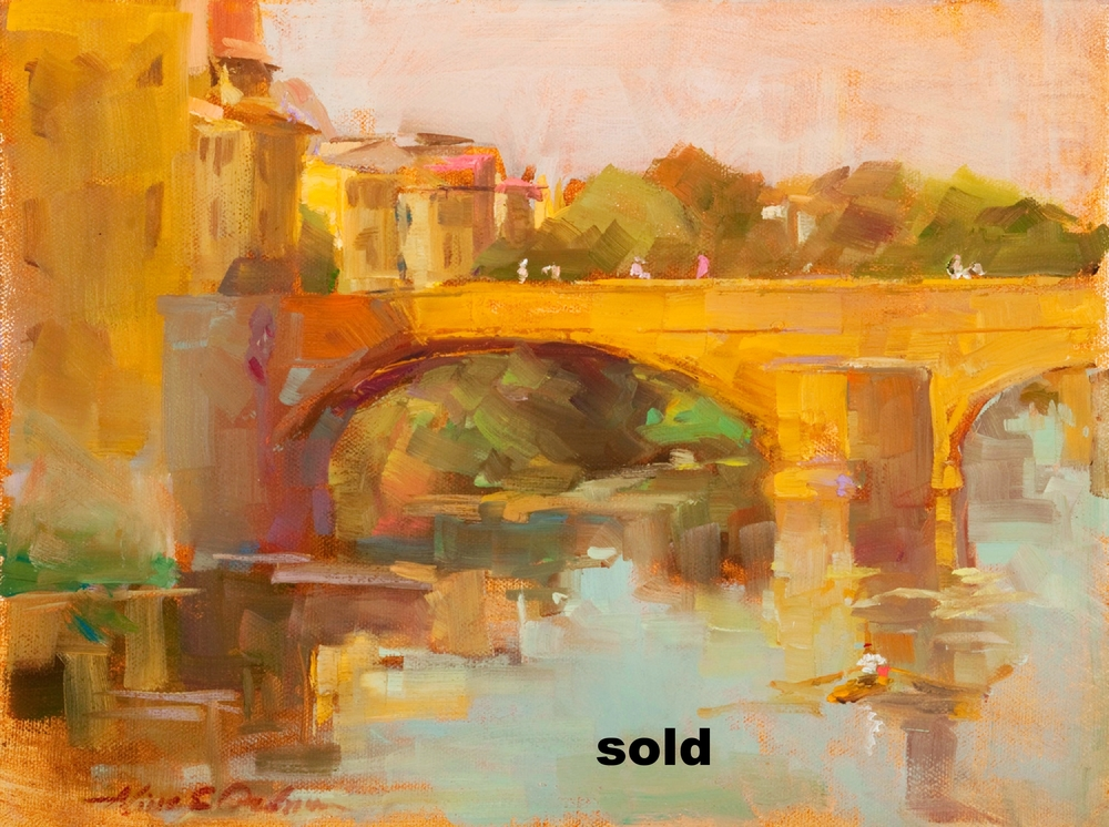 """View from the Ponte Vecchio o/c 12"""" x 9"""""""