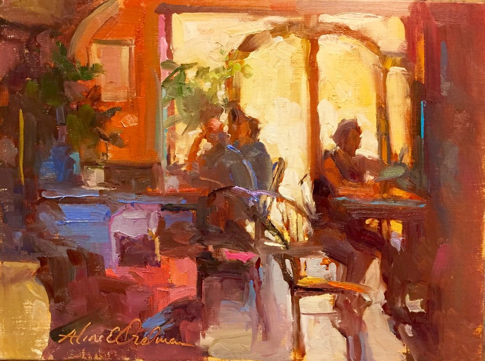 Tuscan Cafe 9 x 12 oil on board
