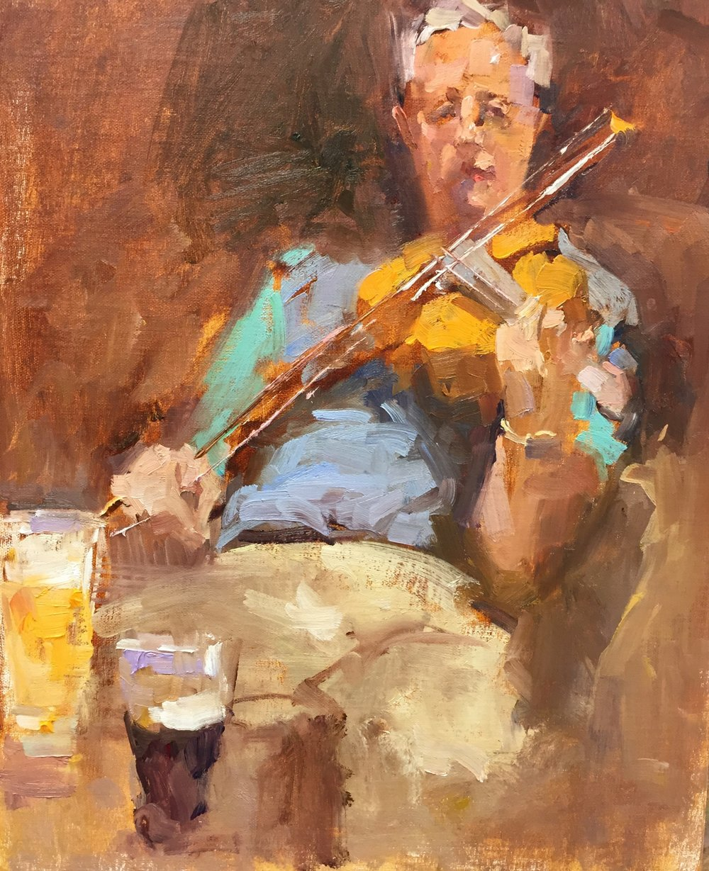 Irish Fiddler 12 x 16 o/b