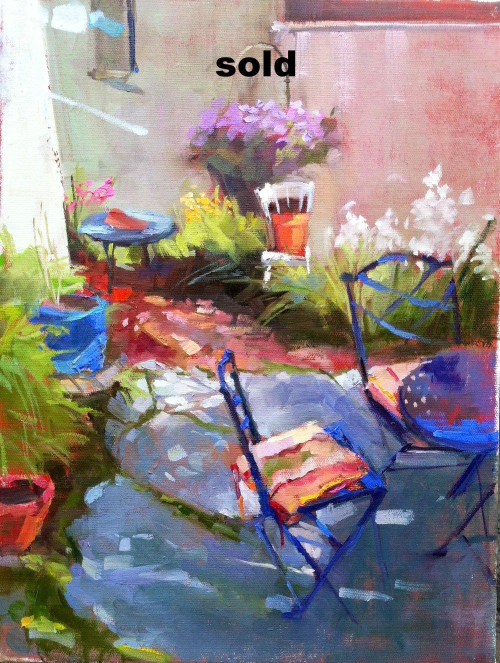 Joan's Garden  12 x 16 oil on canvas sold