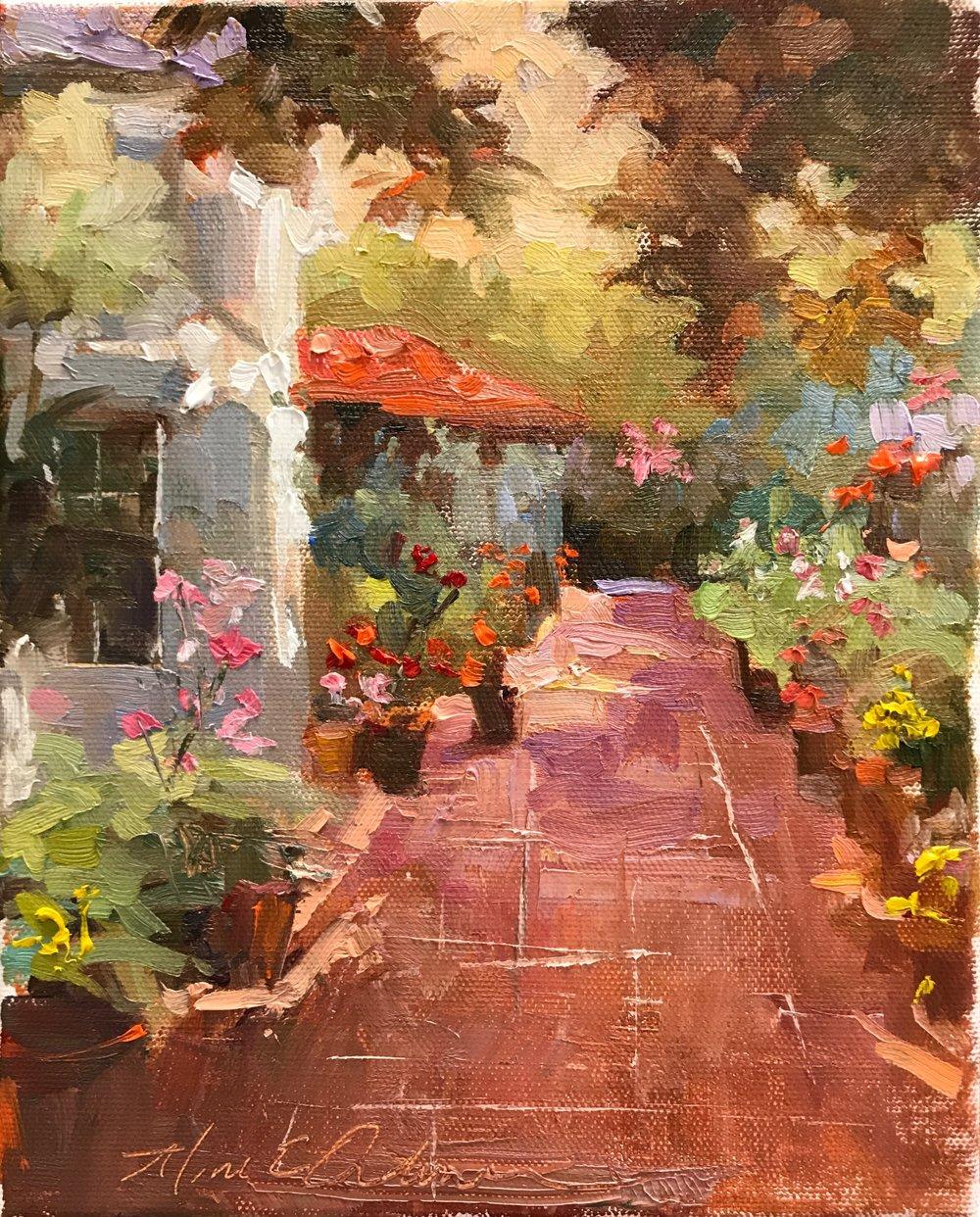 Nicky's Garden 9 x 12 oil on canvas