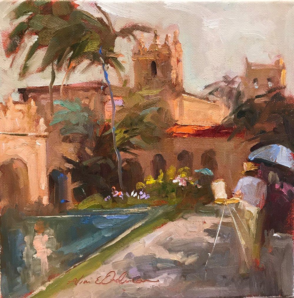 Balboa Park 10 x 10 oil on canvas