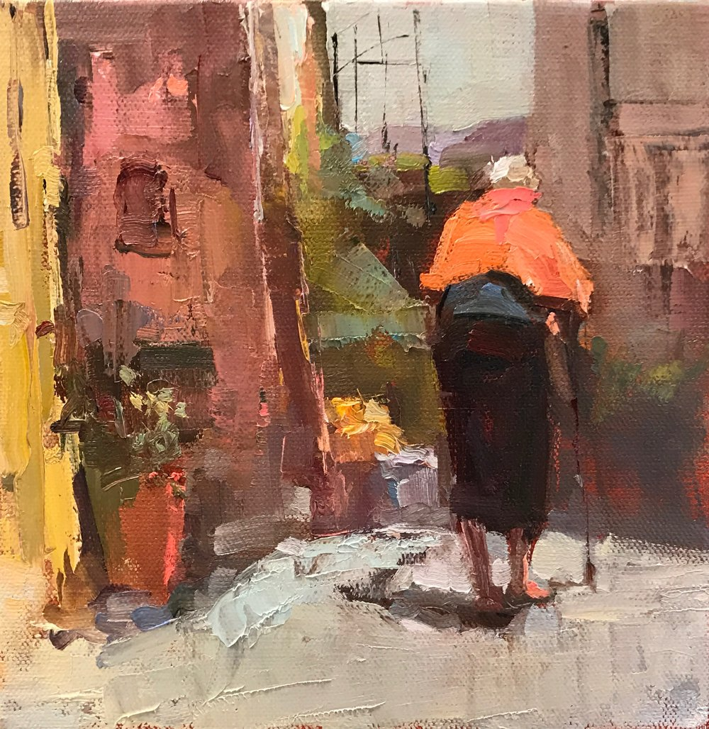 Italian Grandmother 8 x 8 oil on canvas