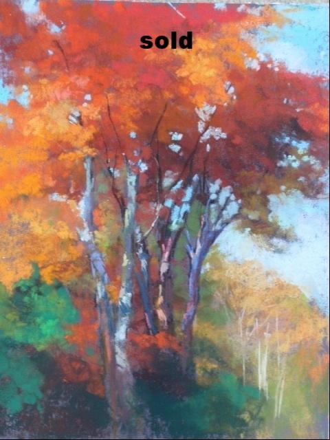 """Autumn Tree  9"""" x 12""""  sold"""