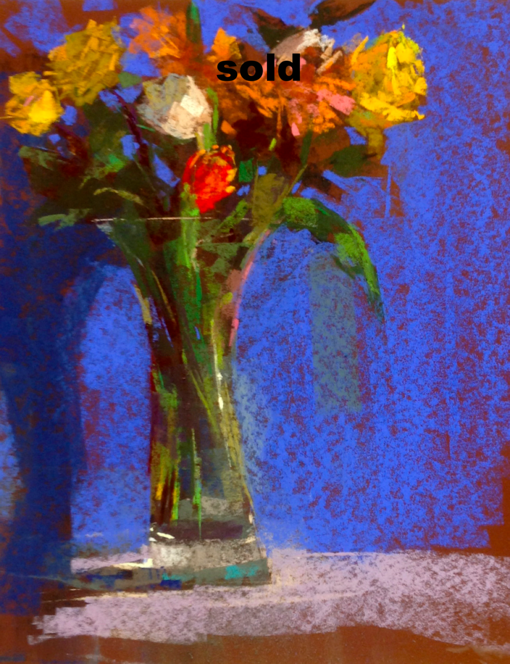 "Long Glass Vase  Pastel   16"" x 20""SOLD"