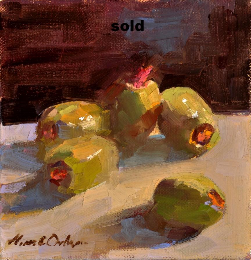 """Olives   oil  6"""" x 6"""" SOLD"""