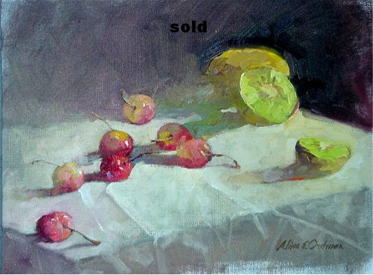"Cherries and Kiwis  oil 12"" x 16""SOLD"