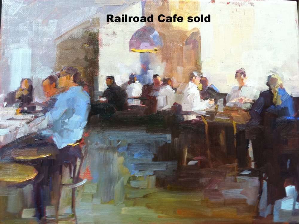 Railroad Cafe  9 x 12 oil on canvas