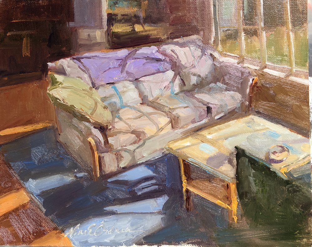 Swans Interior  8 x 10 oil on board