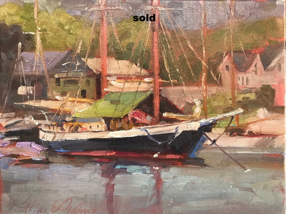 Camden Harbor Boat  o/c 8 x 10
