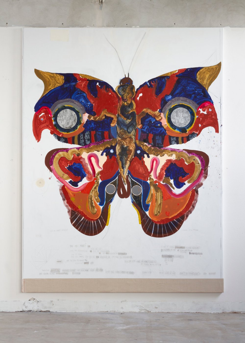 Skitse til forvandling / akryl, kul, papir og blyant på lærred, 250 x 190 cm