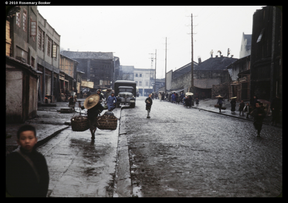 Rain swept street, Chungking, 1945 (RB-t890) © 2010 Rosemary Booker