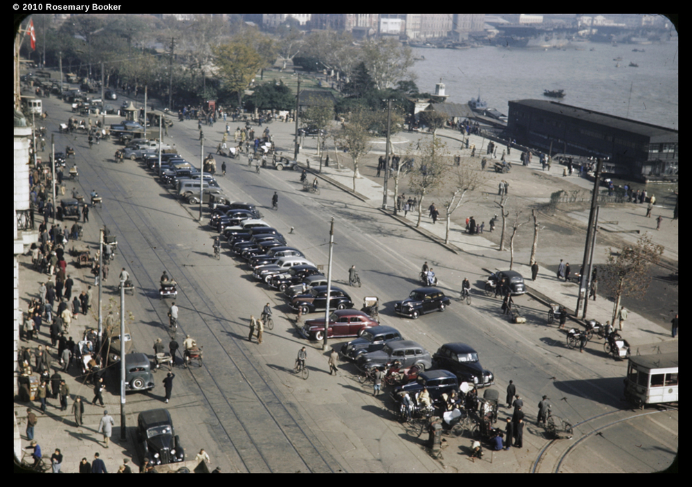 Parked cars, the Bund, Shanghai, 1945 (RB-t898) © 2010 Rosemary Booker