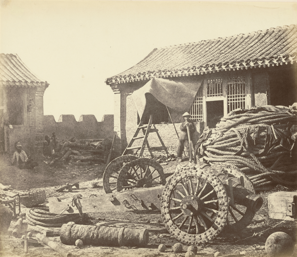 Interior of the Pehtang Fort Showing the Magazine and Wooden Gun, 1860, Albumen silver print, 38.5 x 45 cm. The J. Paul Getty Museum, Los Angeles