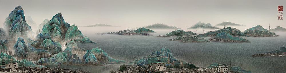 """Yang Yongliang, """"Viridescence No.2"""", 2009, 53 x 207 cm, giclee print"""