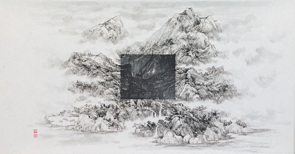 "Michael Cherney & Arnold Chang, ""After Wang Jiqian"", photography and ink on xuan paper, 2016"