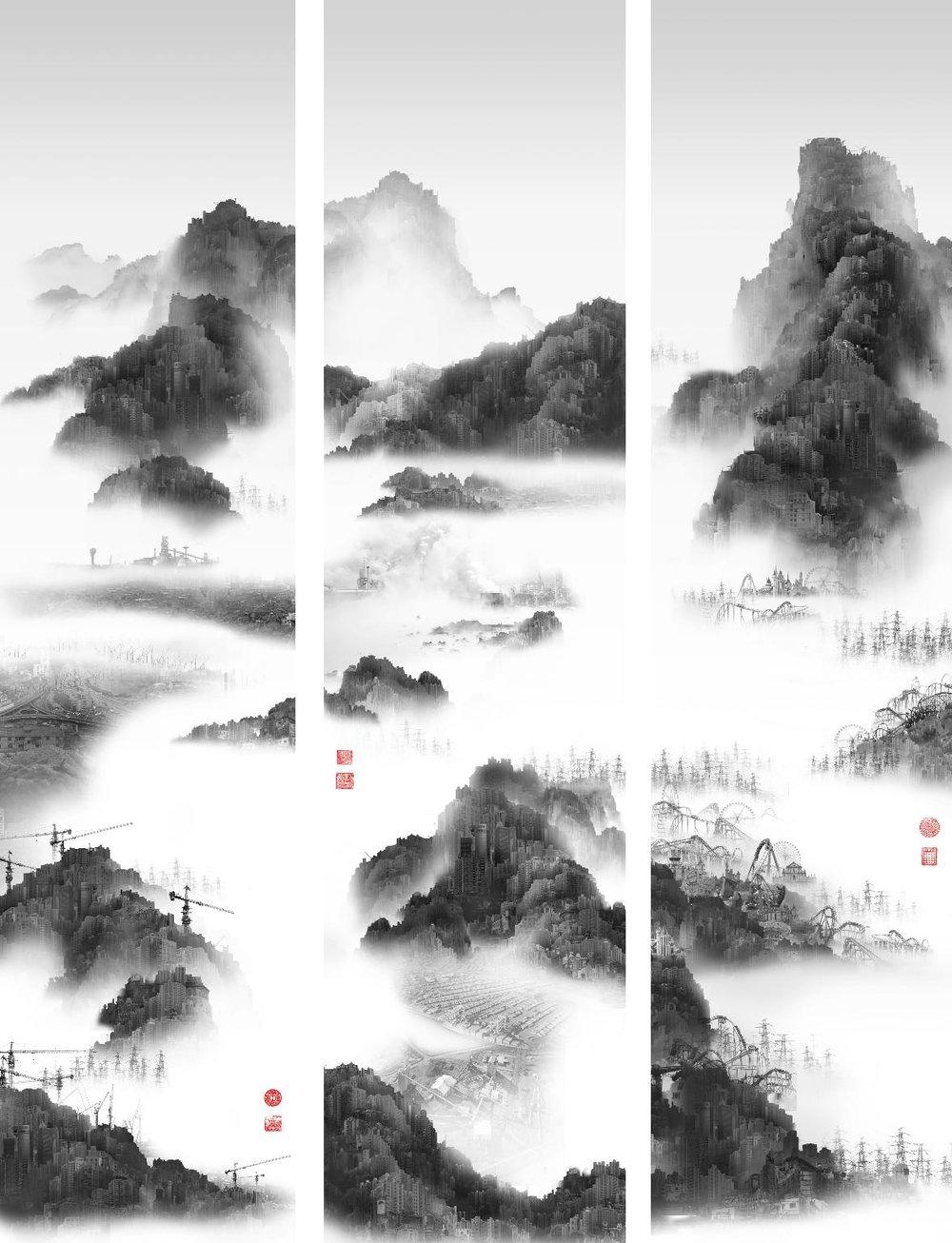 "Yang Yongliang, ""Phantom landscape III"", Epson inkjet print, 200 x 150 cm (Galerie Paris-Beijing)"