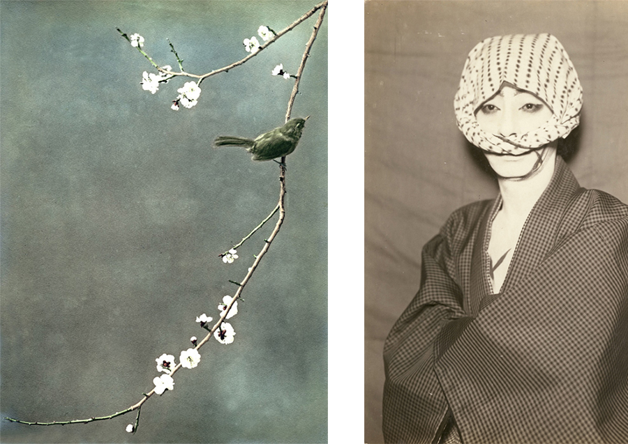 Left: Unidentified photographer. Japan, circa 1910. Hand-tinted gelatin silver print.. 24 x 19 cm Right: Unidentified photographer. Kabuki actor. Japan, circa 1940. Silver print.. 13,7 x 8,6 cm