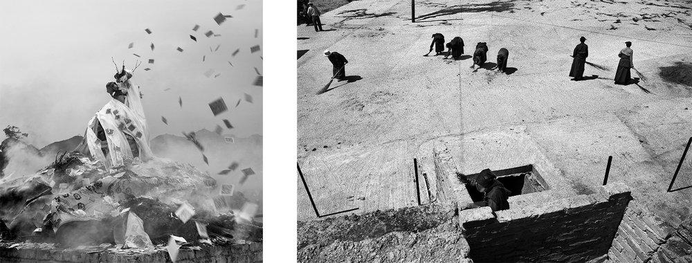 Left: Si près du ciel, le Tibet - Fête du Nouvel An (Dari), Tibet 2012 - © Jacques Borgetto Right: Si près du ciel, le Tibet - Monastère de Serthar (Kham), Tibet 2009 - © Jacques Borgetto