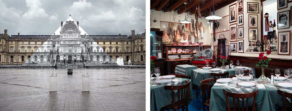 Left: JR x Liu Bollin, Louvre Pyramid, 2016, photograph Right: Liu Bolin, Lifestyle Food, 2014, photograph